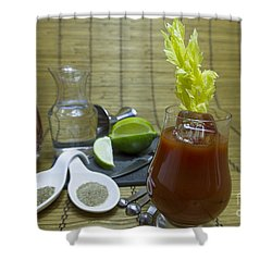 Bloody Mary Cocktail With Ingredients Shower Curtain by Karen Foley