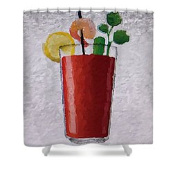 Bloody Mary Emoji Shower Curtain by  Judy Bernier