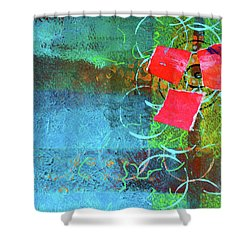 Bloom Abstract Collage Shower Curtain by Nancy Merkle