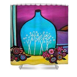 Bloom And Vase Shower Curtain by Pristine Cartera Turkus