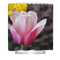 Shower Curtain featuring the mixed media Bloomin' by Trish Tritz