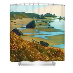 Shower Curtain featuring the photograph Blooming Bandon Watercolor by Wendy McKennon