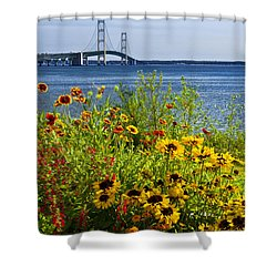 Blooming Flowers By The Bridge At The Straits Of Mackinac Shower Curtain by Randall Nyhof