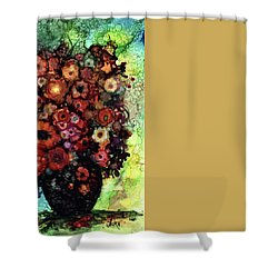 Blooms And Black Onyx Shower Curtain