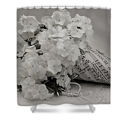 Blossom And The Bee Cornucopia  Shower Curtain by Sandra Foster