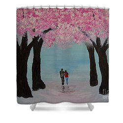 Blossoming Romance Shower Curtain by Leslie Allen