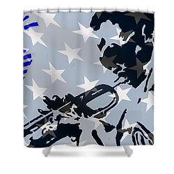 Blow Your Horn Shower Curtain by Robert Margetts