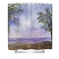 Shower Curtain featuring the painting Blowing By The Ocean by Vicki  Housel