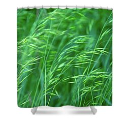 Blowing Green Shower Curtain