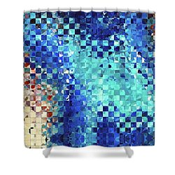 Shower Curtain featuring the painting Blue Abstract Art - Pieces 2 - Sharon Cummings by Sharon Cummings