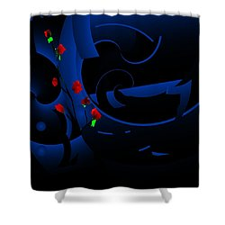 Blue Abstract Shower Curtain by David Lane