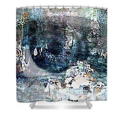 Blue Abstract Eye Shower Curtain by Lynda Payton