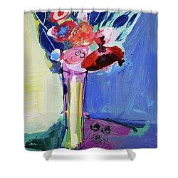Blue Abstract Still Life With Red Flowers Shower Curtain by Amara Dacer