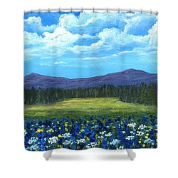 Shower Curtain featuring the painting Blue Afternoon by Anastasiya Malakhova