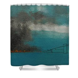 Blue Alexander With Brush Fire Shower Curtain by Stan  Magnan