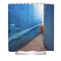 Blue Alleyway Shower Curtain by Marji Lang