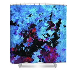 Shower Curtain featuring the painting Blue And Black Abstract Wall Art by Ayse Deniz