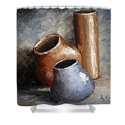 Blue And Brown Pots Shower Curtain