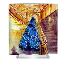 Blue And Gold 2 - Michigan Theater In Ann Arbor Shower Curtain by Yoshiko Mishina