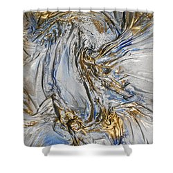 Blue And Gold 3 Shower Curtain