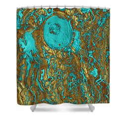 Blue And Gold Abstract Shower Curtain