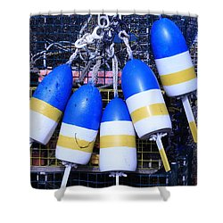 Blue And Gold Bouys Shower Curtain