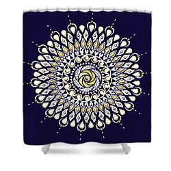 Blue And Gold Lens Mandala Shower Curtain by Deborah Smith