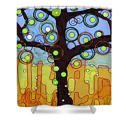 Shower Curtain featuring the painting Blue And Gold by Patricia Arroyo