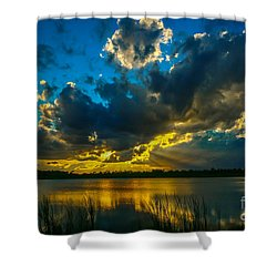 Blue And Gold Sunset With Rays Shower Curtain