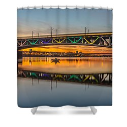Blue And Gold Waters Of Vistula River Shower Curtain