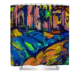 Southwest Blue And Gold In Fauve Shower Curtain