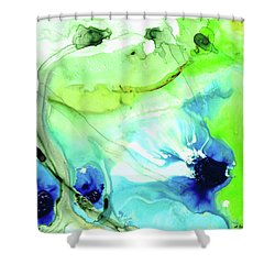 Shower Curtain featuring the painting Blue And Green Abstract - Land And Sea - Sharon Cummings by Sharon Cummings