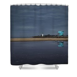 Shower Curtain featuring the photograph Blue And Grey by Lora Lee Chapman