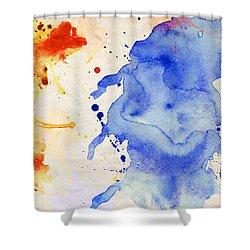 Blue And Orange Color Splash Shower Curtain