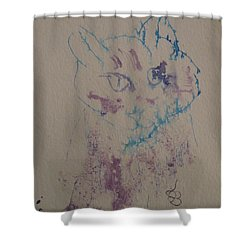 Shower Curtain featuring the drawing Blue And Purple Cat by AJ Brown