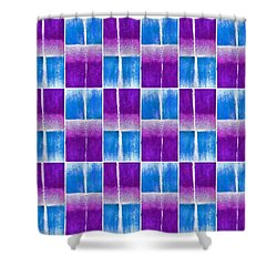 Blue And Purple Pattern Shower Curtain by Patricia Strand