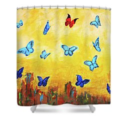 Blue And Red Butterflies Shower Curtain