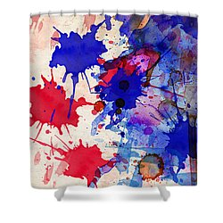 Blue And Red Color Splash Shower Curtain