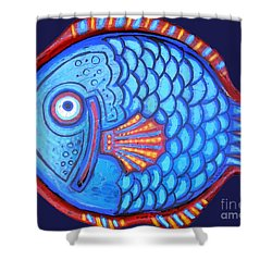 Blue And Red Fish Shower Curtain by Genevieve Esson