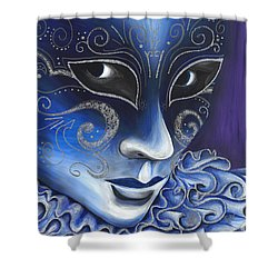 Blue And Sliver Carnival Flair  Shower Curtain by Patty Vicknair