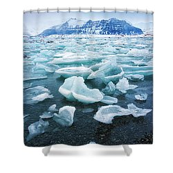 Shower Curtain featuring the photograph Blue And Turquoise Ice Jokulsarlon Glacier Lagoon Iceland by Matthias Hauser