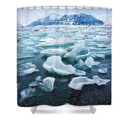 Blue And Turquoise Ice Jokulsarlon Glacier Lagoon Iceland Shower Curtain by Matthias Hauser