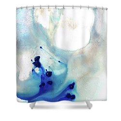 Shower Curtain featuring the painting Blue And White Art - A Short Wave - Sharon Cummings by Sharon Cummings