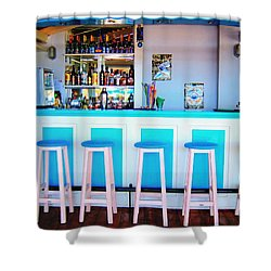 Blue And White Bar Shower Curtain by Andreas Thust