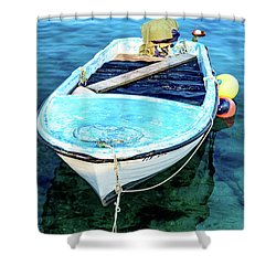 Blue And White Fishing Boat On The Adriatic - Rovinj, Croatia Shower Curtain