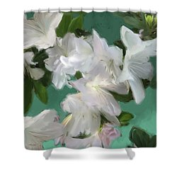 Blue And White Flower Art 3 Shower Curtain