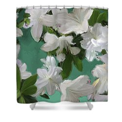 Blue And White Flower Art  Shower Curtain