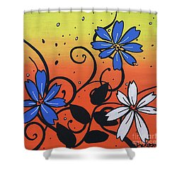 Blue And White Flowers Shower Curtain