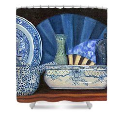 Blue And White Porcelain Ware Shower Curtain