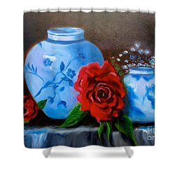 Blue And White Pottery And Red Roses Shower Curtain